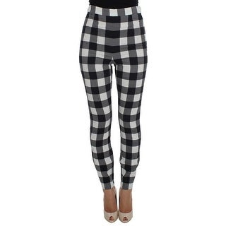 Dolce & Gabbana Dolce & Gabbana Black White Check Slim Fit Tights Pants - it42-m