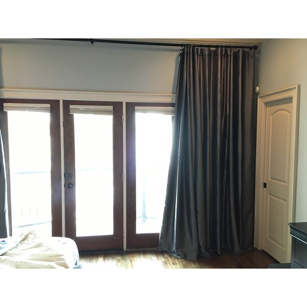 Faux Silk Taffeta Solid Blackout Single Curtain Panel On Free Shipping Today 9086835
