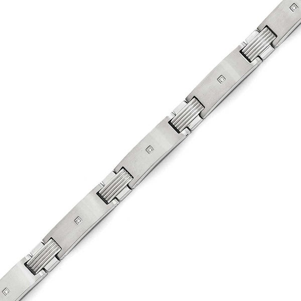 Chisel Stainless Steel Brushed and Polished with CZ 7.75 inch Bracelet
