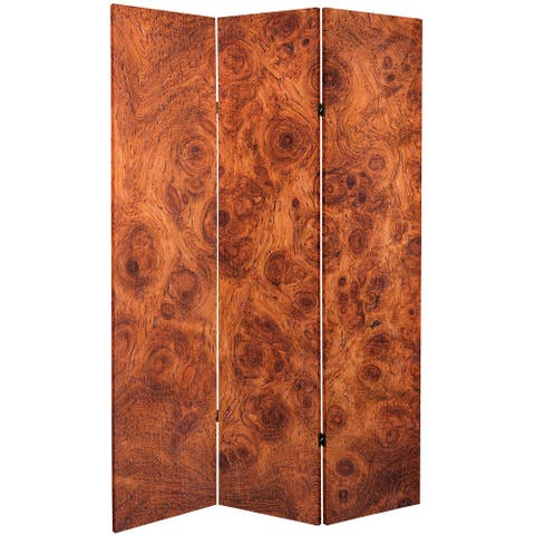 6 ft. Tall Double Sided Burl Wood Pattern Canvas Room Divider