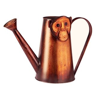 "Art & Artifact Monkey Watering Can - Copper Painted Metal - 10"" Tall - 10 in."