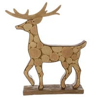 """18.75"""" Country Cabin Faux Wood Deer Decorative Christmas Table Top Figurine - Brown"""