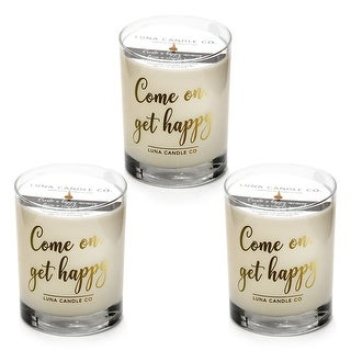 Natural Scented Vanilla Glass Candle, Soy Wax, Perfect Gift (3 Pack)