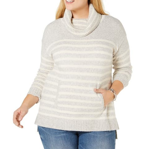 Charter Club Womens Sweater Gray Size 1X Plus Cowl Neck Striped Ribbed