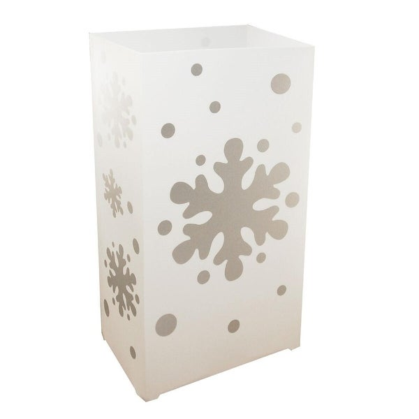 Pack of 100 Weather Resistant Traditional White Christmas Snowflake Decorative Luminaria Bags 10.5""