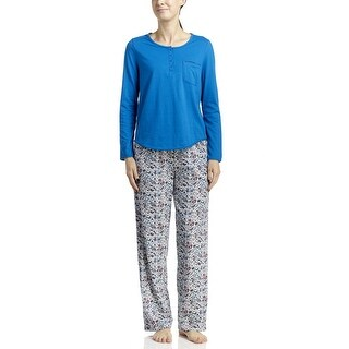 Jockey Women's Knit Top/Pant Pajama Set - Blue