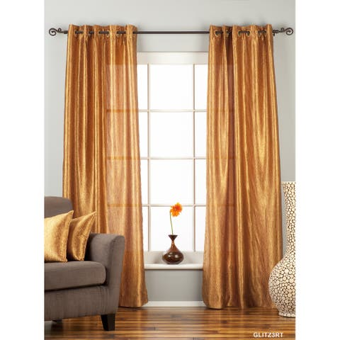 "Gingery Gold Ring / Grommet Top Textured Curtain / Drape / Panel - 84"" - Piece - 43 X 84 Inches (109 X 213 Cms)"