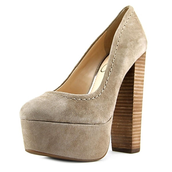 Jessica Simpson Capello Women Open Toe Suede Gray Platform Heel