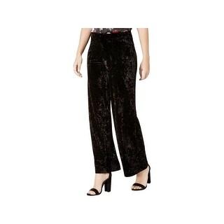 Kensie Womens Wide Leg Pants Crushed Velvet Pull On