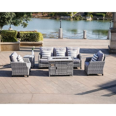 5-Piece Gas Fire Pit Wicker Patio Furniture Outdoor Seating Conversation Set Rattan Wicker Dining Set Table - Gray