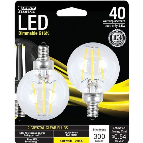 Feit Electric BPG1640827LED2 Globe LED Light Bulb, 300 Lumens, Clear