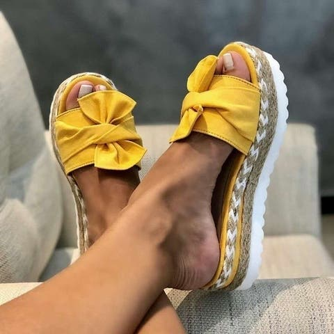 Women's Suede Bow Sandals In 3 Color Choices