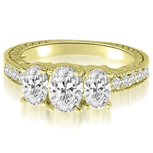 2.00 cttw. 14K Yellow Gold Trellis 3-Stone Oval Round Diamond Engagement Ring