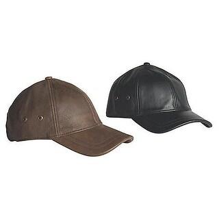 Men's Leather Baseball Cap - Black Hat - Adjustable Fit - By Stetson