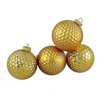 Gold Prism Textured Shatterproof Christmas Ball Ornaments
