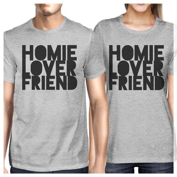 5faf1fbc23 Homie Lover Friend Grey Matching Couple T-Shirts Gift For Husbands