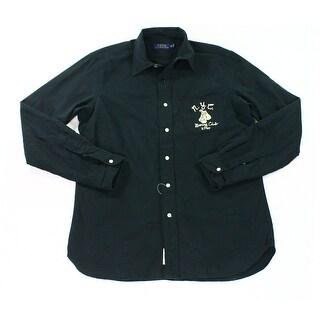 Polo Ralph Lauren NEW Navy Blue Embroidered Mens XL Button Down Shirt
