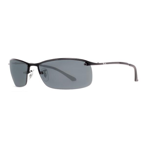 RAY-BAN Rectangular RB 3183 Unisex 002/81 Shiny Black Polarized Gray Sunglasses - 63mm-15mm-125mm