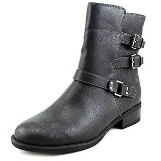 American Living Womens 840572071001 Leather Round Toe Ankle Motorcycle Boots