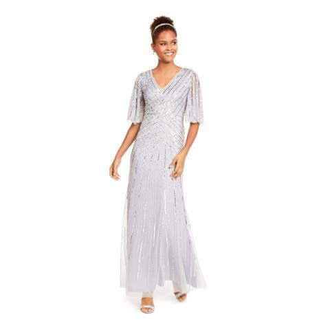 ADRIANNA PAPELL Silver Bell Sleeve Full-Length Dress 12