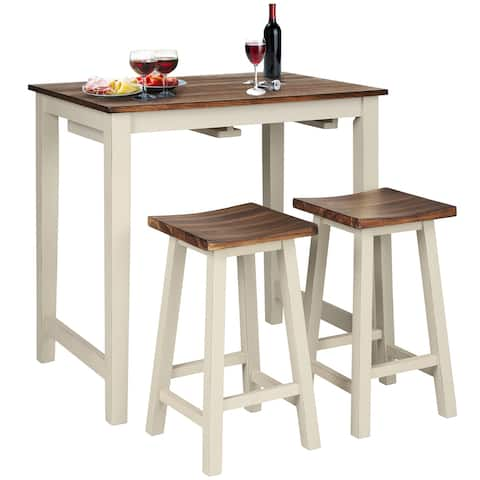 Gymax 3-Piece Bar Table Set Counter Pub Table& 2 Saddle Bar Stools w/