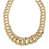 Just Gold Graduated Double Link Chain Necklace in 14K Gold - Yellow