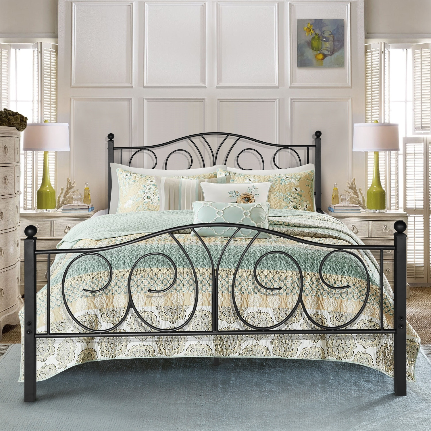 Picture of: Vintage Graceful Classic Scroll Black Iron Bed By Vecelo Twin Full Queen Size Overstock 30100802 Twin
