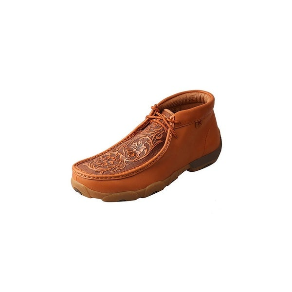 Twisted X Casual Shoes Men Driving Mocs Red Buckle Lace Up Tan