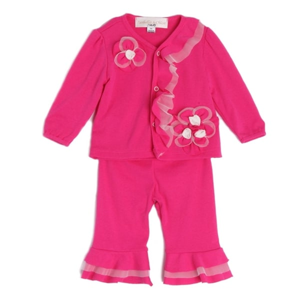 Isobella & Chloe Baby Girls Hot Pink Long Sleeve Flower Ruffle 2 Pc Outfit