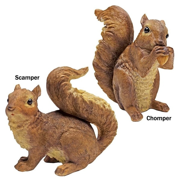 Design Toscano Scamper and Chomper, the Woodland Squirrel Statues: Set of Two