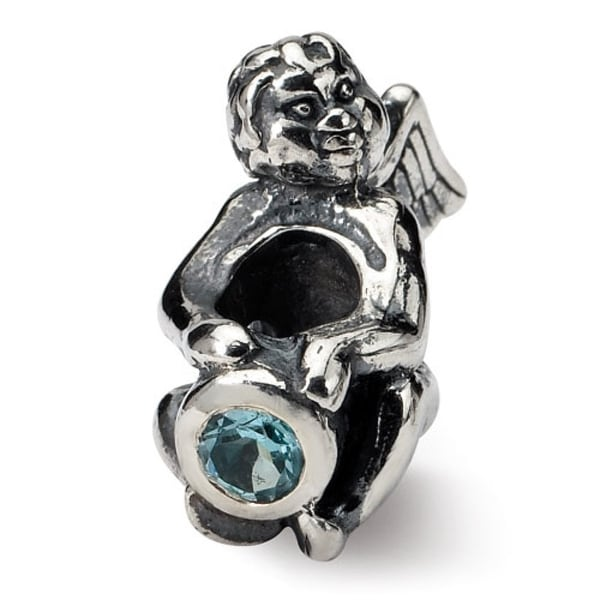 Sterling Silver Reflections December CZ Antiqued Bead (4mm Diameter Hole)