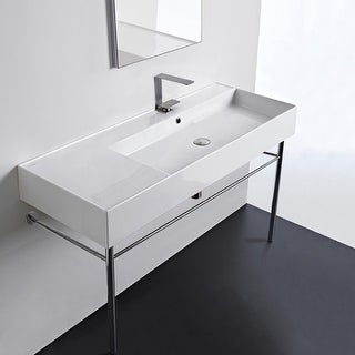 "Nameeks Scarabeo 5122-CON  Scarabeo Teorema 2.0 48"" Rectangular Ceramic Console Bathroom Sink with Overflow"