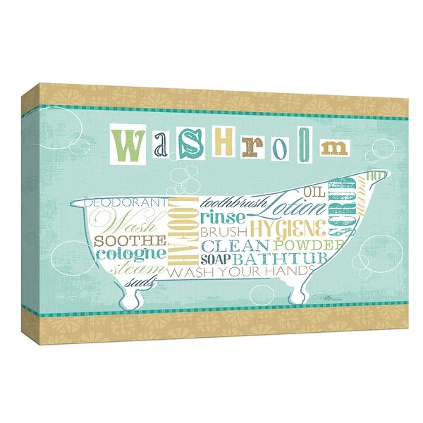 """PTM Images 9-153666 PTM Canvas Collection 8"""" x 10"""" - """"Bathroom Words II"""" Giclee Tubs Art Print on Canvas"""