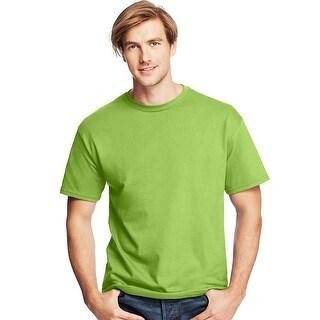 Hanes Men's TAGLESS® ComfortSoft® Crewneck T-Shirt - Size - L - Color - Lime