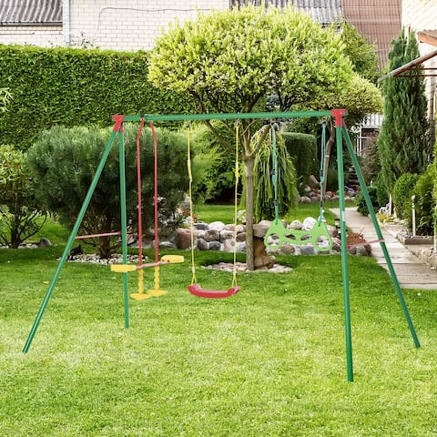 Outsunny Kids Swing Set w/ Monkey Bar Rings Glider and Adjustable Hanging Rope, 3 - 8 Years Old