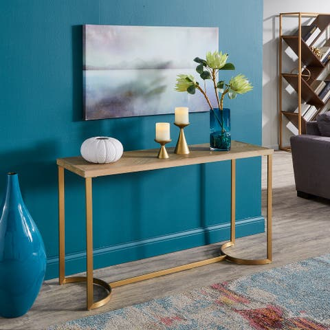 The Curated Nomad McCoppin Natural Finish Reclaimed Wood Sofa Table