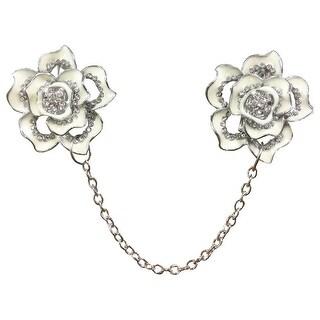Women's Silvertone Flower Cardigan Sweater Clip