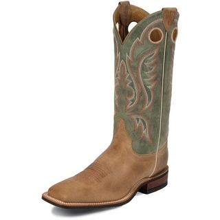 Justin Western Boots Mens Bent Rail Arizona Cowhide Tan Sage BR354