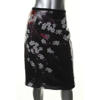 Elie Tahari Womens Sequined Floral Print Pencil Skirt - 12
