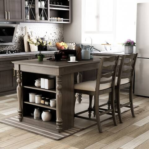 Furniture of America Reln Traditiona 3 Piece Kitchen Island Set