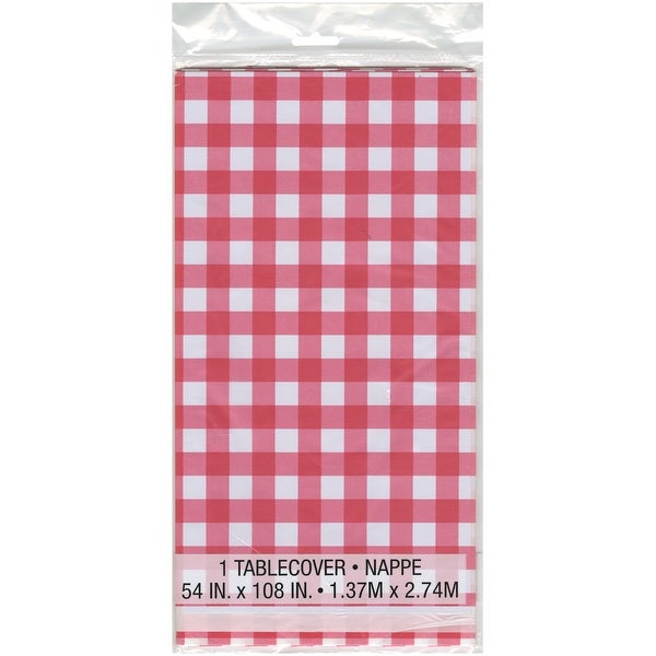 """Printed Tablecover 54""""X108""""-Red & White Check"""