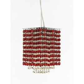 "Modern Contemporary Mini Pendant Chandelier Lighting Geometrics Quantum H 9"" X W 6"" - Dressed with Pink Color Crystal!"