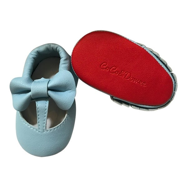 Baby Girls Sky Blue Red Cutout Bow Soft Sole Faux Leather Crib Shoes 3-18M