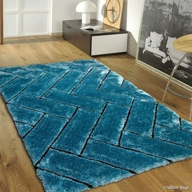 AllStar Rugs Sky Blue Shaggy Area Rug with 3D Design with Black Lines. Contemporary Formal Casual Hand Tufted (5' x 7')