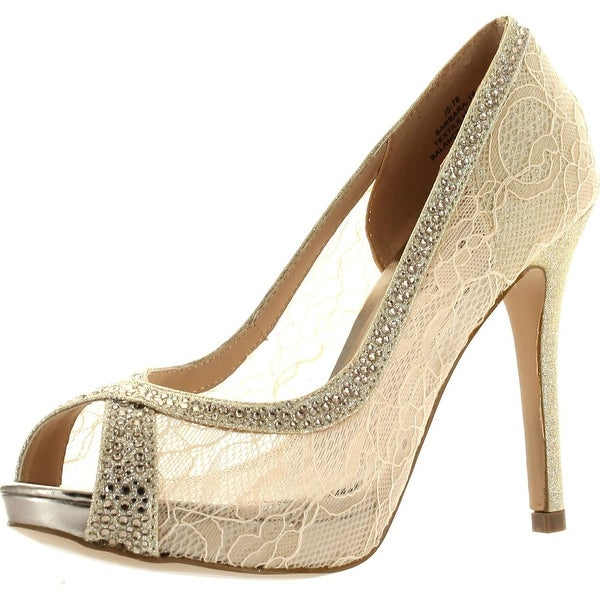 De Blossom Womens Barbara-19 Peep Toe Lace Party Pumps Shoes - Silver - 5.5 b(m) us