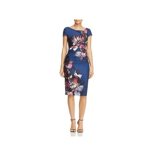 Adrianna Papell Womens Wear to Work Dress Floral Print Ruched Waist - 6