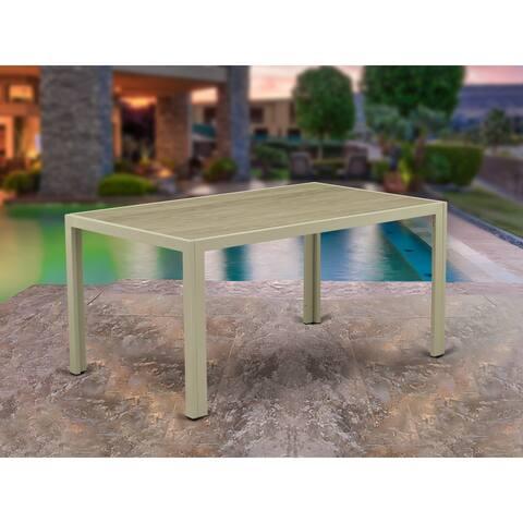 JULTW03 Acacia Wood Top Natural Color Rectangular Outdoor PE Wicker Patio Table