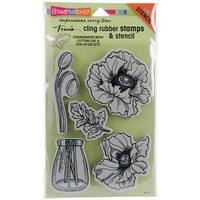 """Stampendous Cling Stamp W/ Template 9""""X5.25""""-Pretty Poppies"""