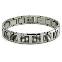Tungsten Carbid Checkered Link Bracelet - 8.5 inches