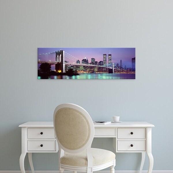 Easy Art Prints Panoramic Image 'Brooklyn Bridge, World Trade Center, Wall Street, Manhattan, New York City' Canvas Art
